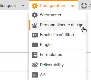 Personnaliser le design - Allez dans Configuration